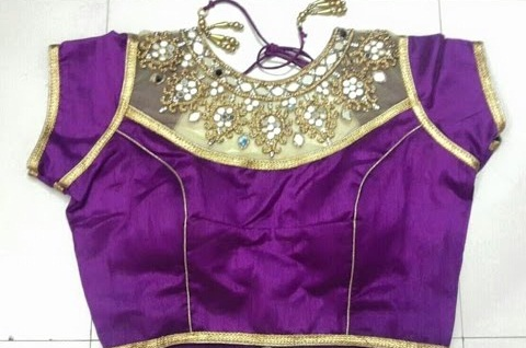 Jewelled Neck Readymade blouse in Synthetic Material