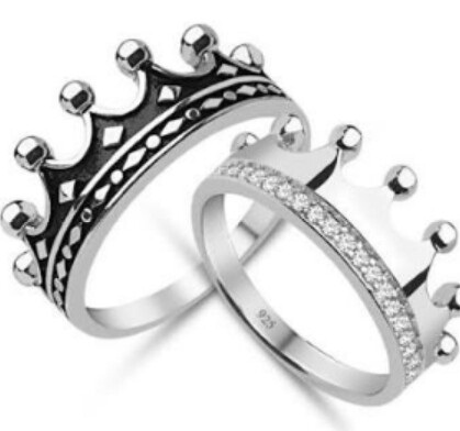 King and queen crown couple ring set