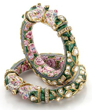 Kundan and Meena Bridal Bangle Sets