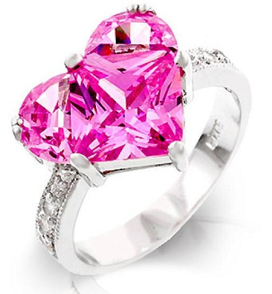 Large Pink Heart Diamond Ring