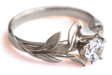 Leaves Style Silver Engagement Ring