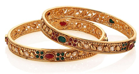 Light Weight Kundan Thin Gold Bangle