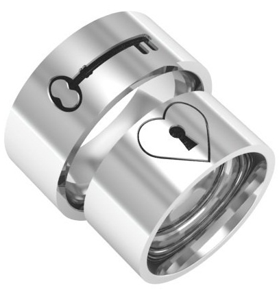 Lock and Key Design Platinum Couple Ring