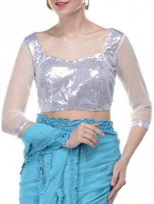 Long Sleeve Silver Blouse