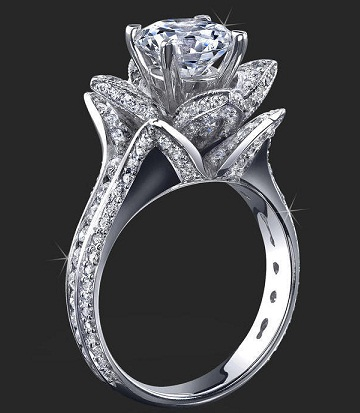 Lotus Style Diamond Wedding Ring