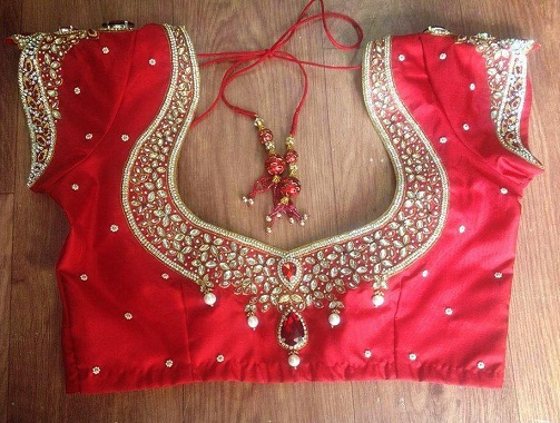 Maggam Work on Blouse for a Bride -5