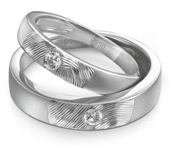 Matte Finish Platinum -Textured work Couple Ring