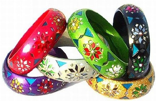 Mirror Work Colourful Bangles