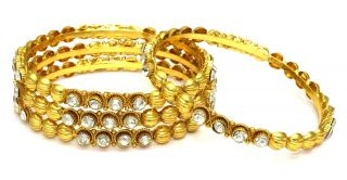 Mirror work and Gold Plated Rolled Bangles