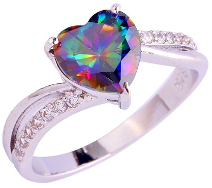 Multicolored Heart Diamond Ring
