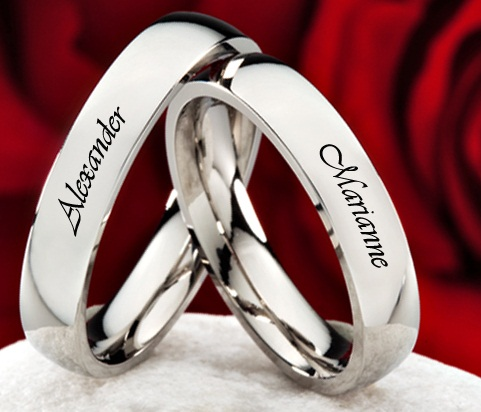 Name Embossed Couple Platinum Ring