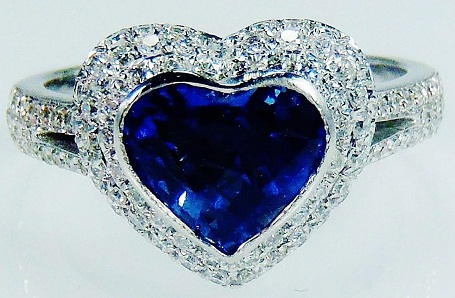 Natural Blue Sapphire Diamond Heart Cut Ring