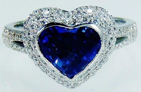 Natural Blue Sapphire Diamond Heart Cut Ring