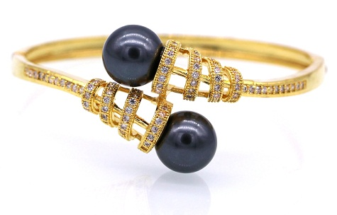 Net Ball Gold Plated Bangles