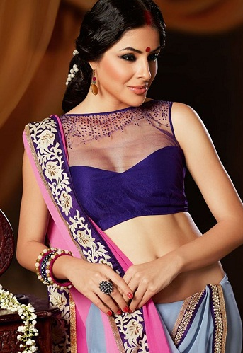Net Designed Purple Blouse