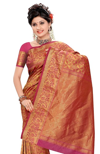 Orange Pink Kancheepuram Saree Blouse