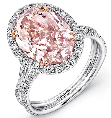 Oval Pink Diamond Engagement Ring