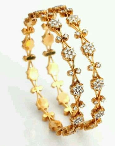 Pavalam Studded Gold Bangle Design