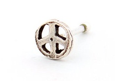 Peace Sign Silver Nose Ring