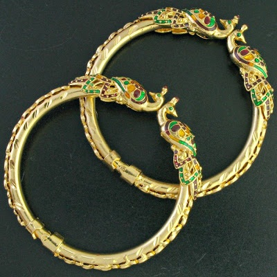 Peacock Designed Gold Plated Bangles