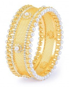 Pearl Design Gold Plated Bangle -11