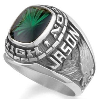 Personalized Silver Ring With Emerald for Men