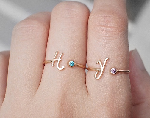 Personalized initials couples rings