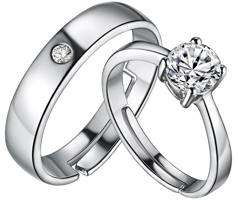 Plain Platinum Ring - Center Diamond Stone