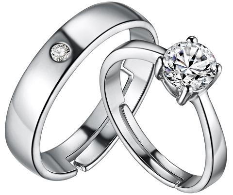 Plain Platinum Ring - Center Diamond Stone