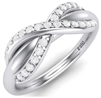 Platinum Engagement Ring with Bow Design