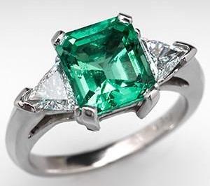 Platinum Square Shape Emerald Engagement Ring