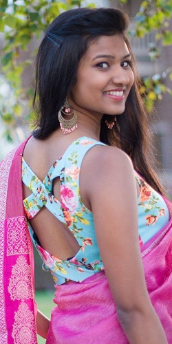 Printed Blouse with Back Design
