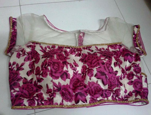 Printed Blouse with Net