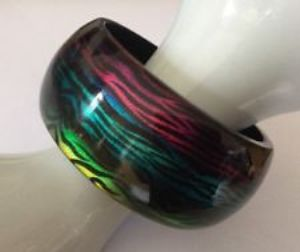 Rainbow Pattern Colourful Acrylic Bangle