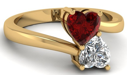 Red Heart Diamond in Yellow Gold