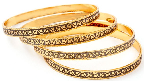 Rolled Gold Bangles with Black Meenakari