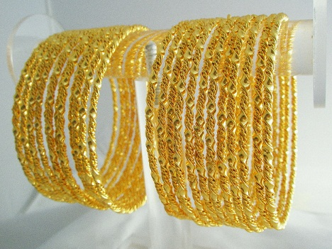 Rope Machine Gold Plated Bangles