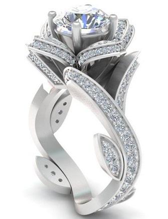 Rose Designer Platinum Diamond Ring