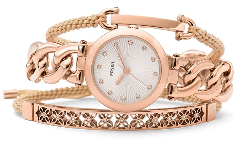 Rose Gold Bangle with Watch Set
