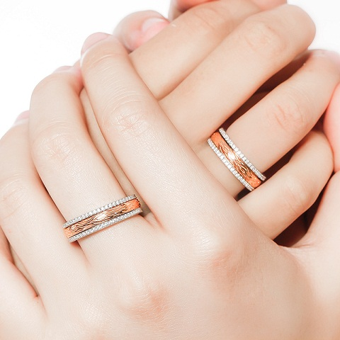 Rose Gold Couples Spinner Engagement Rings