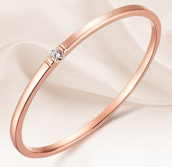 Rose Gold-Solitaire Diamond Bangle