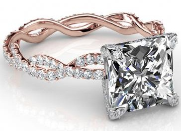 Rose Gold Twisted Princess Cut Engagement Ring