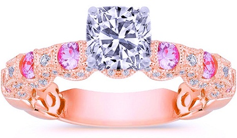 Rose Gold White and Pink Diamonds Engagement Rings