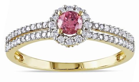 Round Diamond Pink Ring