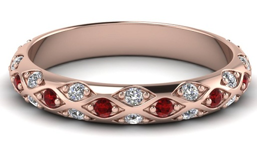 Ruby-Rose Gold-Solitaire Bangle