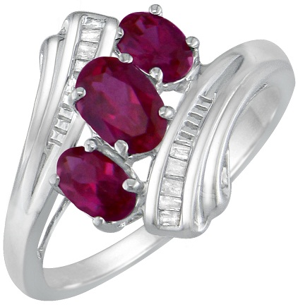 Ruby Silver Ring for Girls