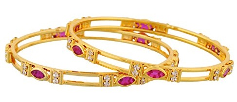 Ruby and White Stone Studded Gold Bangles