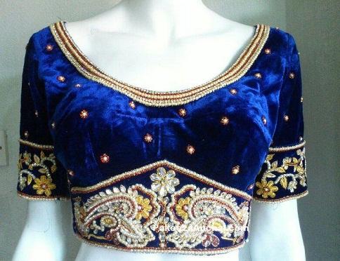 Satin round neck readymade blouse