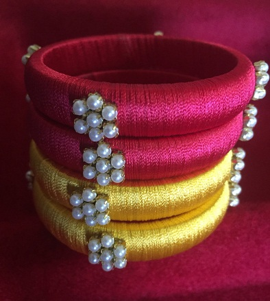 Silk Thread Bangles with Pearl