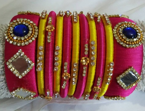Silk Thread Bangles with Stone Work